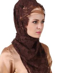 MyBatua Mahrosh Brown Flower Net Hijab