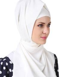MyBatua Sairah White Crepe Hijab
