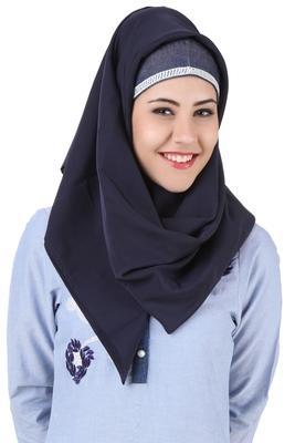 MyBatua Mahek Navy Blue Kashibo Hijab