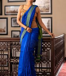 Buy Blue Matka Resham Silk Saree With Green Border handloom-saree online