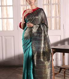 BLUE COTTON SILK SAREE WITH LUREX