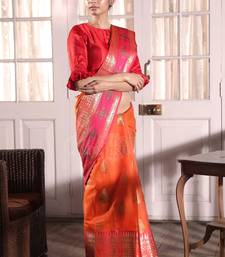 Buy Bright Orange Kora Saree With Zari handloom-saree online
