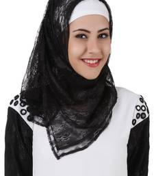 MyBatua Taybah Fancy Black Flower Net Hijab