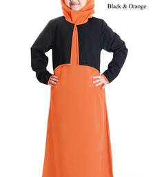 Orange plain crepe kids-abaya