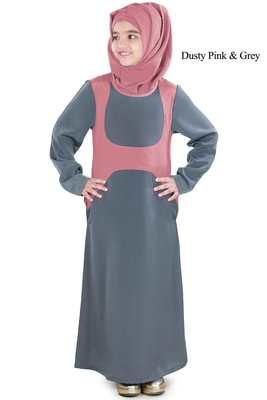 Pink Plain Crepe Kids-Abaya