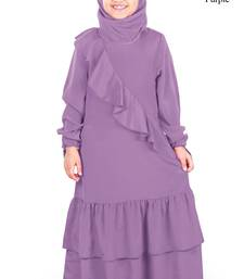 Purple Plain Crepe Kids-Abaya