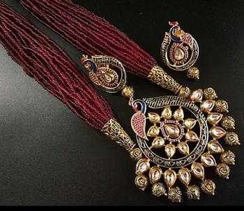 Jaipuri Semi Precious Beads Maroon Agate Necklace Sets