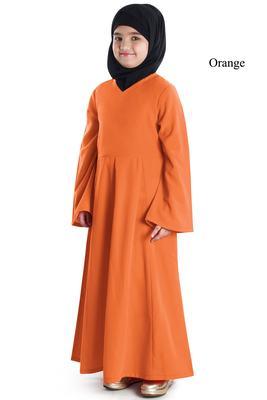 Orange plain crepe kids-abaya