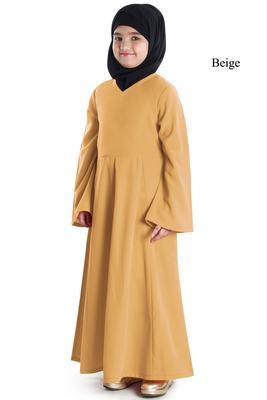 Beige plain crepe kids-abaya