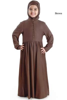 Brown plain rayon kids-abaya