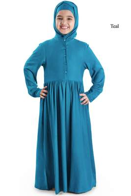 Green plain rayon kids-abaya