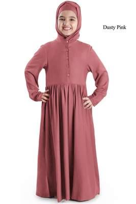Pink plain rayon kids-abaya
