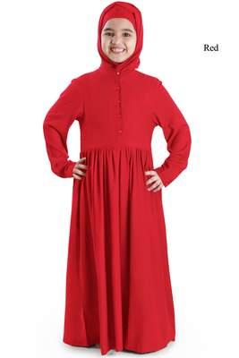 Red plain rayon kids-abaya