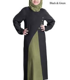 Black plain rayon kids-abaya