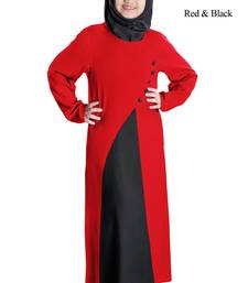 Red Plain Rayon Kids-Abaya
