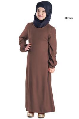 Brown plain rayon kids-abaya