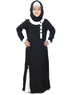 Black Plain Rayon Kids-Abaya