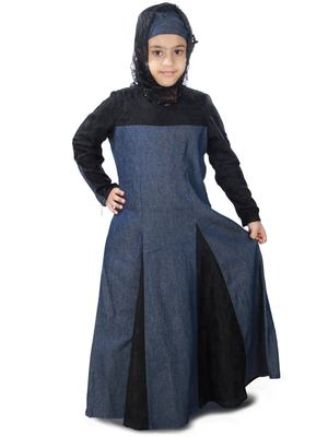 Blue plain crepe kids-abaya