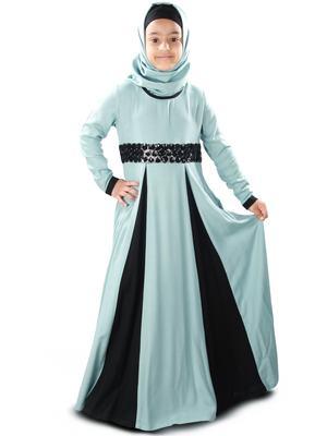 Blue plain rayon kids-abaya