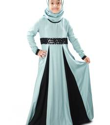 Blue plain rayon kids-abaya