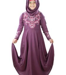 Purple plain rayon kids-abaya