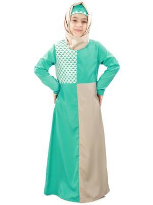 Green plain crepe kids-abaya