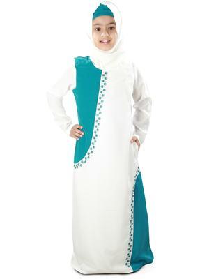 White Plain Crepe Kids-Abaya
