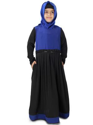Black plain crepe kids-abaya