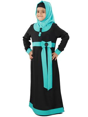 Black plain crepe kids-abaya