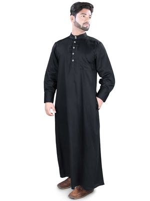 Black Plain Cotton Galabiyyas
