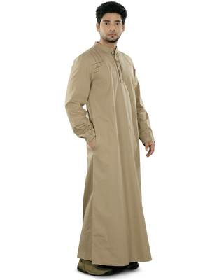 Beige plain cotton galabiyyas