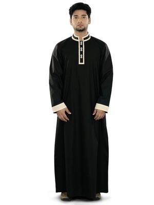 Black plain cotton galabiyyas