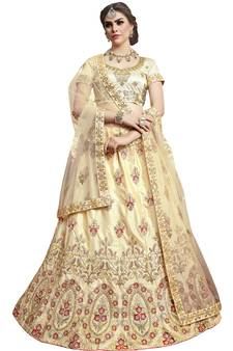833dde9a01e04 Beige embroidered silk semi stitched lehenga with dupatta. Shop Now