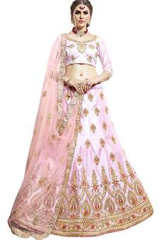 8ab5101730651 Pink embroidered silk semi stitched lehenga with dupatta