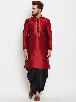 Maroon plain raw silk men-kurtas