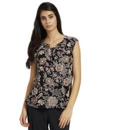 Buy Black printed viscose rayon tops sleeveless-top online