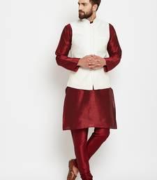 Buy Maroon plain dupion silk kurta-pajama kurta-pajama online