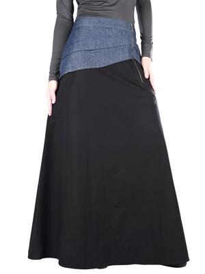 Black Plain Cotton Islamic Skirts