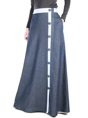 Blue Plain Chambray Islamic Skirts