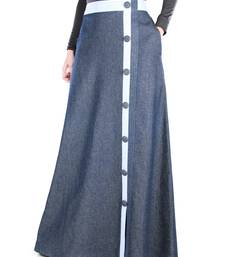 Blue Plain Chambray Islamic Skirts