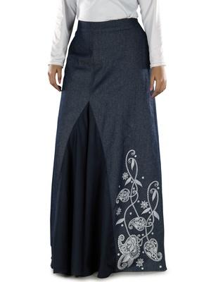 Blue  plain cotton islamic skirts