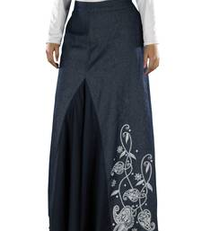 Blue  plain cotton islamic skirts