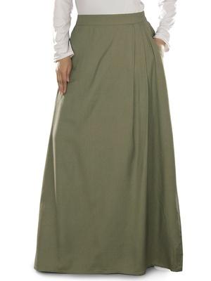Green Plain Rayon Islamic Skirts