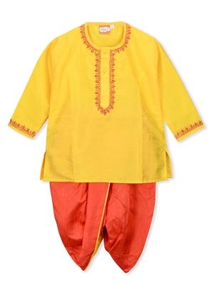 Yellow plain cotton boys dhoti kurta