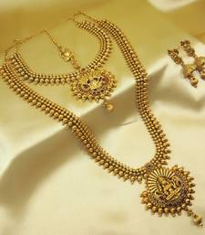 Buy Royal Copper Ruby Premium Gold Plated Short Long Combo Necklace Set necklace-set online