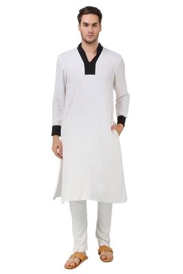 White Plain Rayon Islamic-Kurta-Pajama