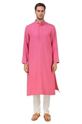 Pink Plain Rayon Islamic-Kurta-Pajama