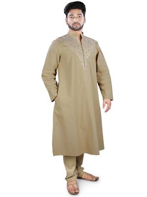 Brown plain cotton islamic-kurta-pajama