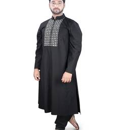 Black Embroidered Cotton Islamic-Kurta-Pajama