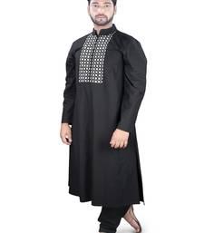 Black embroidered cotton islamic-kurta-pajama islamic-kurta-pajama